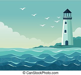 colorful poster seaside with lighthouse in coast