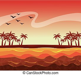 colorful poster sunset sky landscape of palm trees on the beach