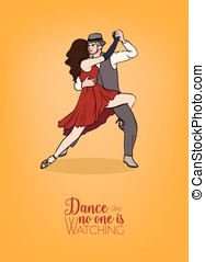 Colorful poster template with couple of dancers dressed in elegant clothing and demonstrating Argentine tango figure. Pair of man and woman performing gorgeous passion dance. Vector illustration.