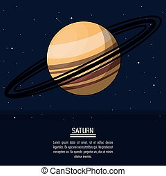 colorful poster with planet saturn
