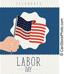 colorful poster with zigzag lines of labor day with hand holding a american flag
