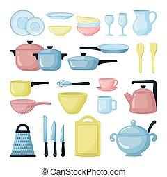 Colorful pots and pans flat illustrations set