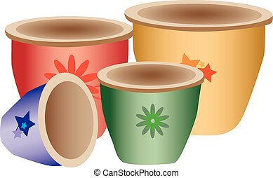 Colorful pottery - Illustration of colorful pottery with...