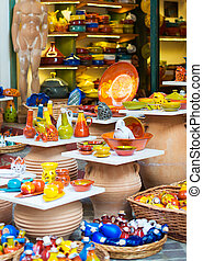 Colorful pottery in the Mediterranean market.