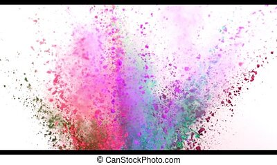 Colorful powder exploding on white background in super slow...