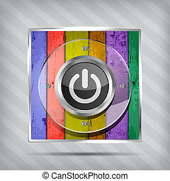 colorful power icon on the striped