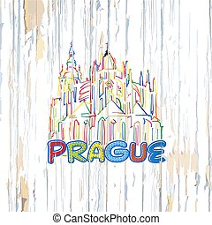 Colorful Prague drawing on wooden background