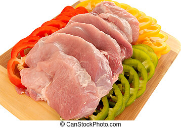 Tenderloin meat - Colorful presentation on cutting board of...
