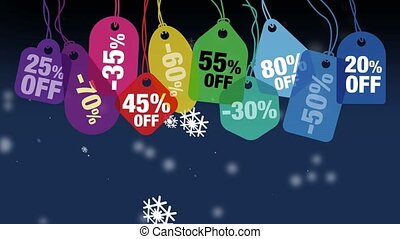 Colorful price tags or labels with Falling snowflakes on the black background. Digital animation.
