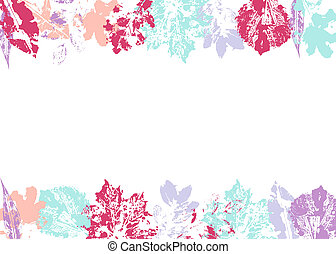 Colorful prints of leaves. Floral frame on a white background. Space for text