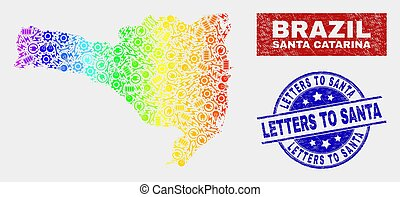Colorful Production Santa Catarina State Map and Scratched Letters to Santa Stamps