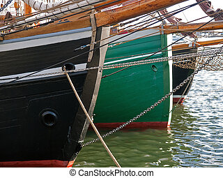 Colorful prow of traditional wood sailboats - Colorful prows...