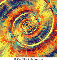 Colorful Psychedelic Spiral. Abstract Bright Vortex. Fractal Background Design. Blue Gold Orange Colors. Digital Art Illustration. Fantasy Pattern Concept. Beautiful Modern Image. Decorative Radial Texture. Creative Complex Lines. Swirl Wallpaper. Twirl Graphic. Twisted Swirls Shapes. Artistic ...