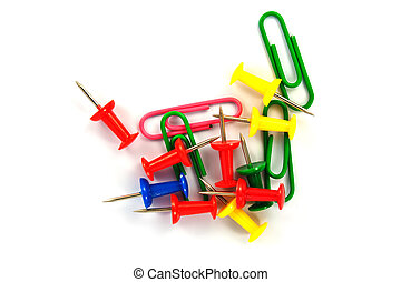 colorful push pin and paperclip