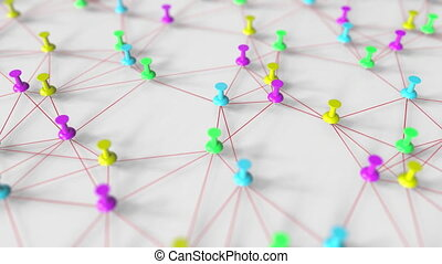 Colorful pushpins and thread network model on a pinboard, conceptual 3D animation