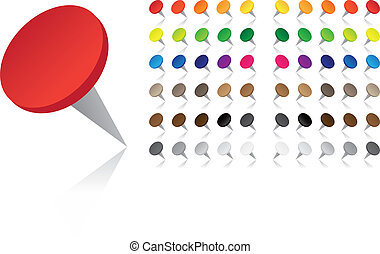 Colorful Pushpins - Vector - Push-pins in many different...