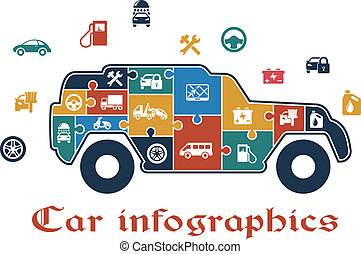 Colorful puzzle car infographic