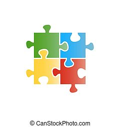 Colorful puzzle flat icon on white background
