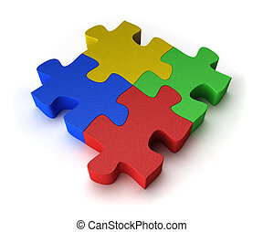 Four puzzle pieces interconnected with each other over white background