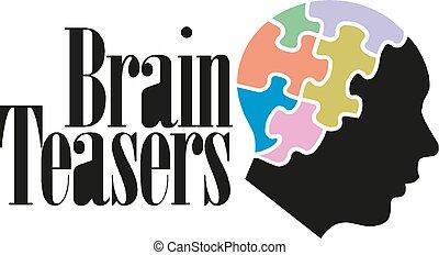 Colorful puzzle head concept presentation. Brain teasers. Vector illustration