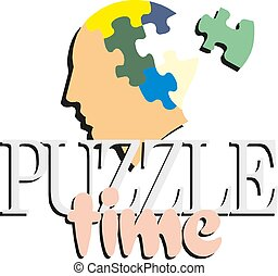 Colorful puzzle head concept presentation. Puzzle time. Vector illustration