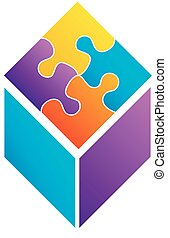 Colorful puzzle in a cube