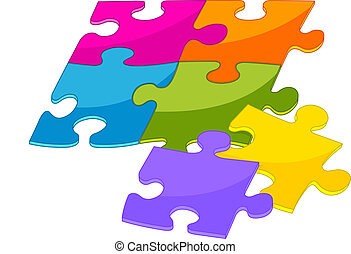 Colorful puzzle pieces - Colorful shiny puzzle pieces