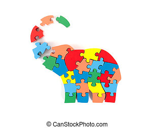 Colorful puzzle pieces in elephant shape