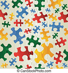 Colorful puzzle seamless pattern in wood texture - Colorful...