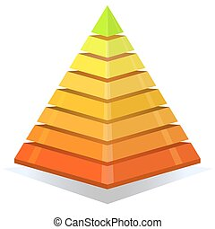 Colorful pyramid design element isolated on white background.