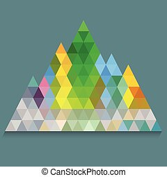 Colorful pyramid from triangles on navy blue background