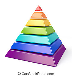 Colorful pyramid with seven levels 3D
