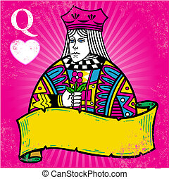 Colorful Queen of Hearts with banner illustration