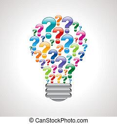 colorful query mark light bulb