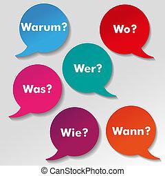 Colorful Questions Speech Paper Labels - Colorful questions...
