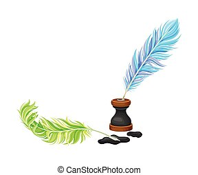 Colorful Quill Pens and Inkstand with Ink Stains Vector ...