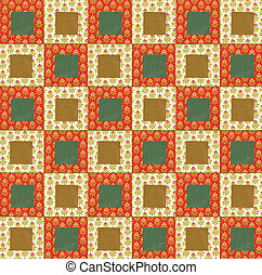 Colorful quilt design in orange, red