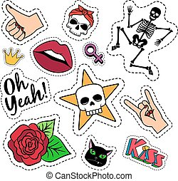 Colorful quirky funny patches with skeleton, rose, skull and...