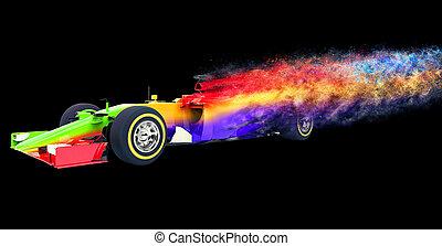 Colorful race car - particle disintegration effect - 3D...