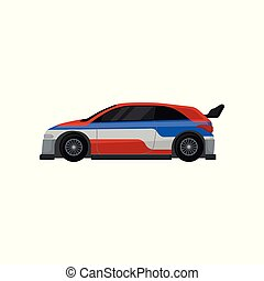 Colorful racing car with tinted windows and spoiler. Extreme auto sport. Flat vector element for mobile game