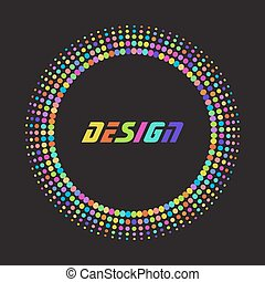 Colorful rainbow Abstract Halftone dot Logo Design Element with place for text on black background, vector illustration