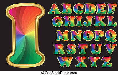 Colorful rainbow alphabet with golden frame, letters from A...
