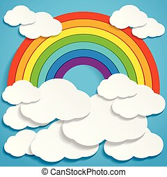 Colorful rainbow and clouds in blue sky illustration