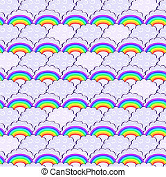 Rainbow and Purple Clouds Seamless Pattern