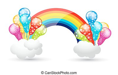 Colorful Rainbow Balloons Clouds