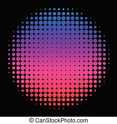 Colorful Rainbow Circle in Halftone, Halftone Dot Pattern,...