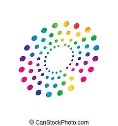colorful rainbow circles dot pattern circular shape element vector