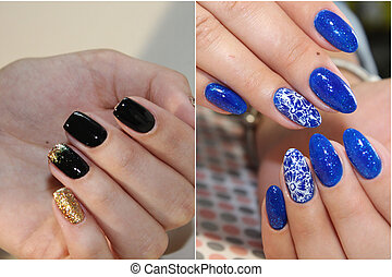 Colorful rainbow collection of nail designs for summer and winte