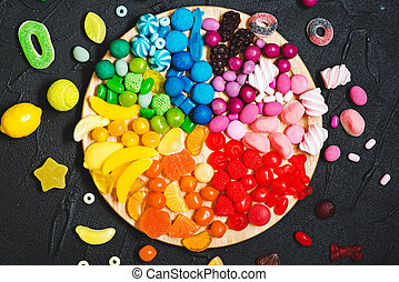 Colorful rainbow color candy bar