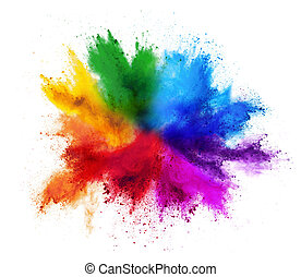 colorful rainbow holi paint color powder explosion isolated white background